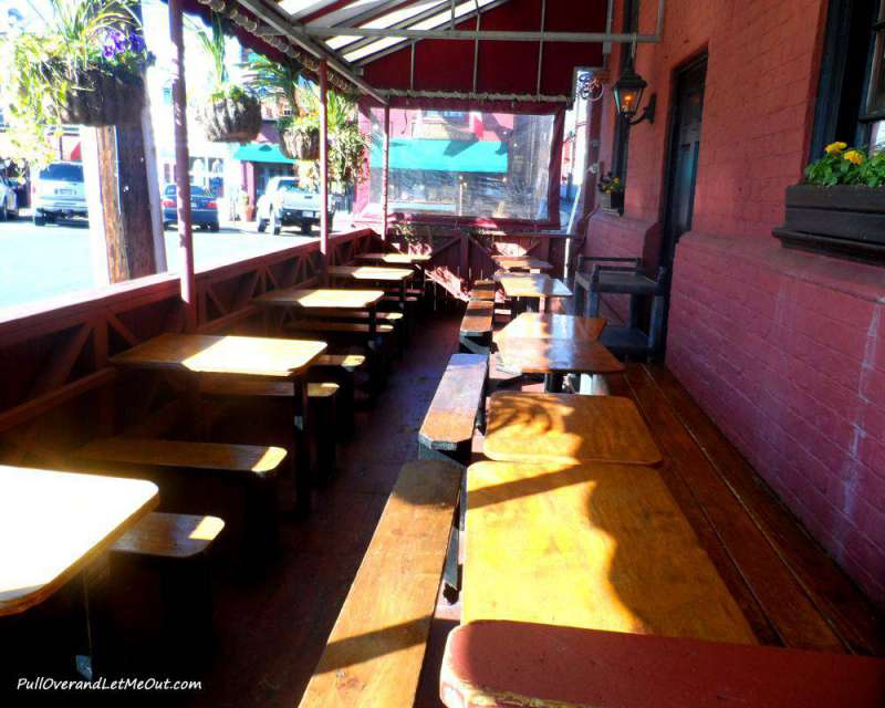 Outdoor seating is popular during the warmer months.