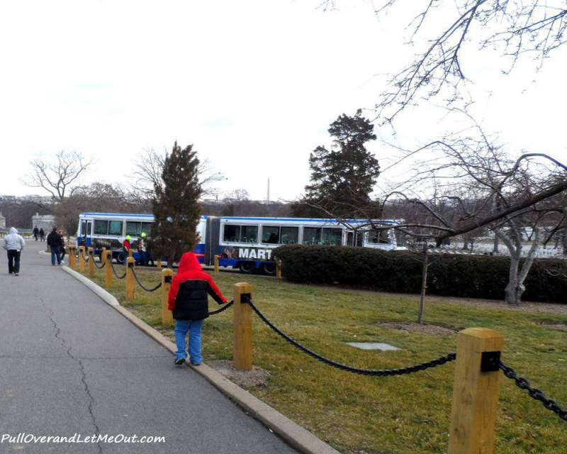 The trolley tour provides narration and details about the cemetery.