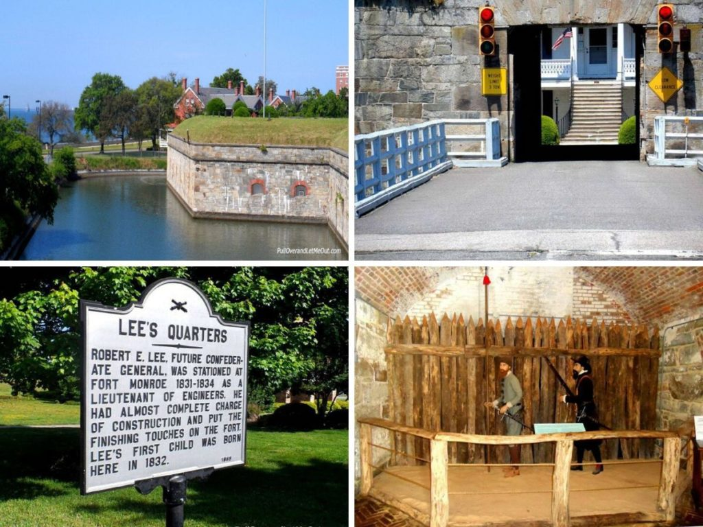 photo collage of four pictures at Fort Monroe National Monument Hampton Roads VA