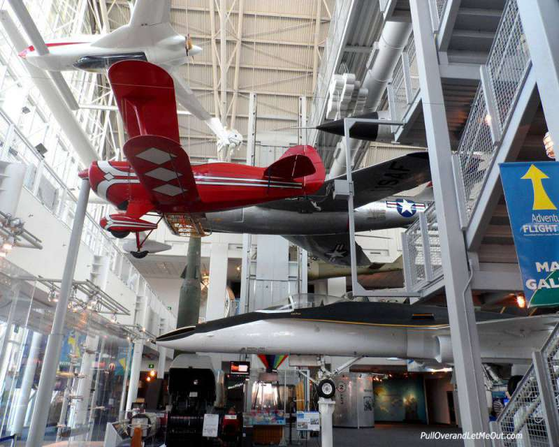 Airplane hanging from ceiling at the Virginia Air and Space Museum in Hampton Roads