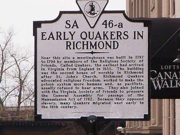 Quakers historical marker Richmond