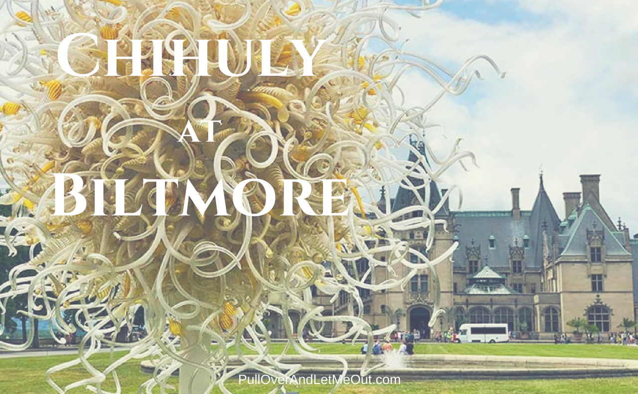 The Chihuly Exhibit at Biltmore Estate is an incredible art exhibition. #PullOverAndLetMeOut #ChihulyAtBiltmore #Chihuly #artglass #NorthCarolina #VisitNC #Biltmore #Asheville