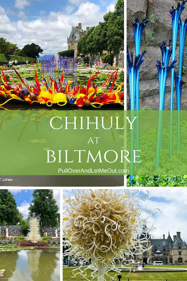 Chihuly At Biltmore is a magnificent art exhibition of works by renowned artist, Dale Chihuly. #PullOverAndLetMeOut #ChihulyAtBiltmore #Travel #BiltmoreEstate #Asheville #ChihulyArtGlass #art #exhibition #glassart #VisitNC #VisitAsheville