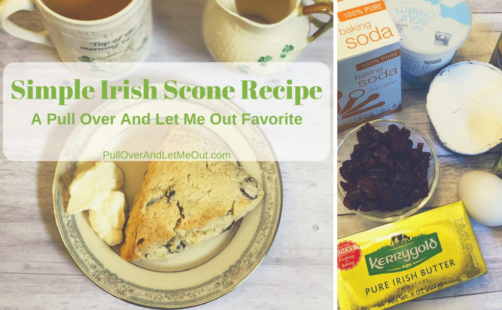 Simple Irish Scone Recipe is a twist on an easy scone recipe with a slight Irish twist. #PullOverAndLetMeOut #scones #sconerecipe #easyscones #cranberryscones #breakfast #tea ##simplesconerecipe