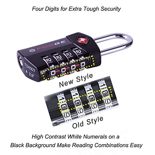 0e91e33fa811 4 Digit TSA Approved Luggage Lock, 4 Pack Black, Inspection Indicator,  Alloy Body