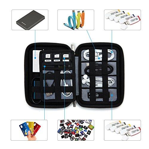 Black USB BAGSMART Portable Shockproof EVA Hard Drive Case Travel Electronic Organizer for Cables Charger