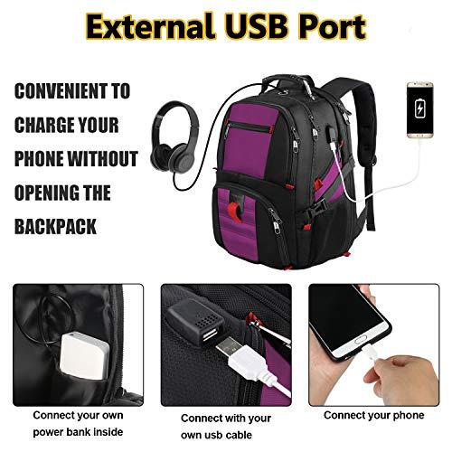 17 Inch Laptop Backpack for Travel School Work w//USB Charging Port Men Women