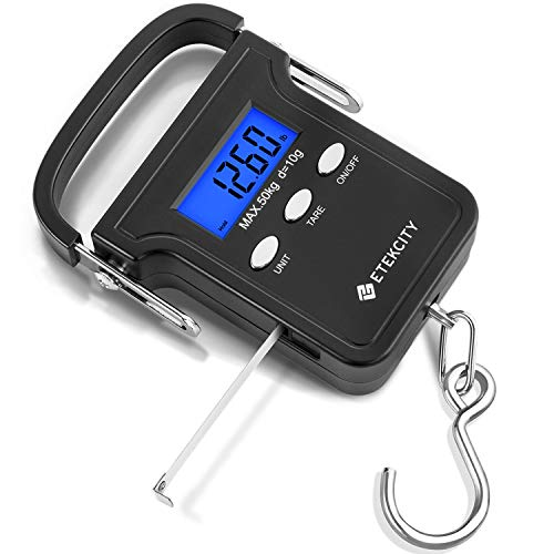 cdce50de3ab4 Etekcity 110lb/50kg Electronic Balance Digital Fishing Scale, Portable  Hanging Hook Luggage Scale with Measuring Tape, Backlit LCD Display, Carry  Bag ...