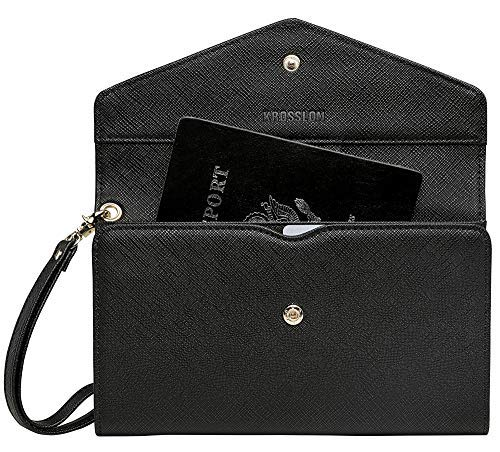 3a96bd89bc5d Krosslon Travel Passport Holder Wallet for Women Rfid Blocking Document  Organizer Tri-fold Wristlet Bag