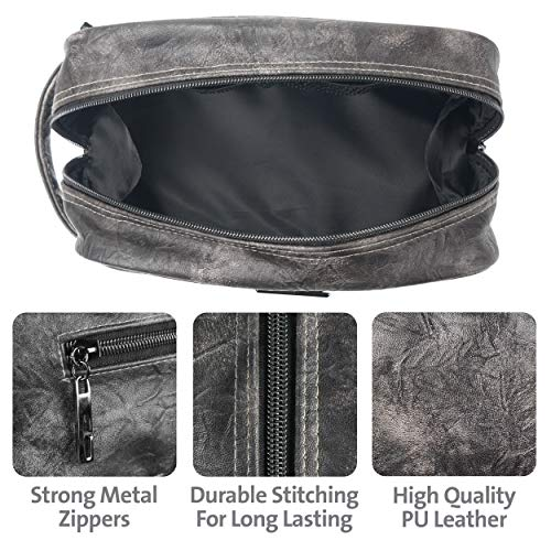 493e479ba129 Leather Toiletry Bag for Men - Dopp Kit for Mens Toiletries by LVLY -  Travel Bags for Shaving Grooming and Bathroom Accessories