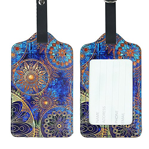 Flower Colors Elephant Set of 4 Lizimandu 4 Pack PU Leather Luggage Tags Suitcase Labels Bag Travel Accessories