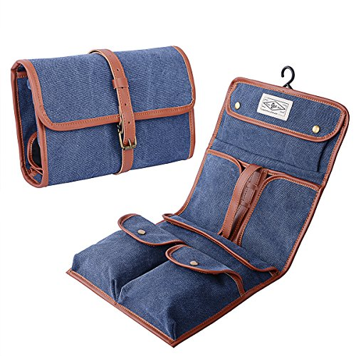 Mens Toiletry Bag Vintage Canvas Wash Shower Organizer Waterproof Shaving Kit Travel Portable