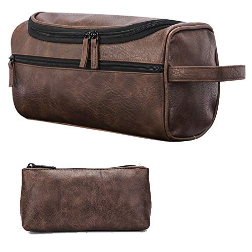 c29fce793001 ORIGOAL Premium PU Leather Unisex Toiletry Bag Toiletry Organizer Wash Bag  Bathroom Shower Bag with hanging hook, Dopp Kit for Home or Travel