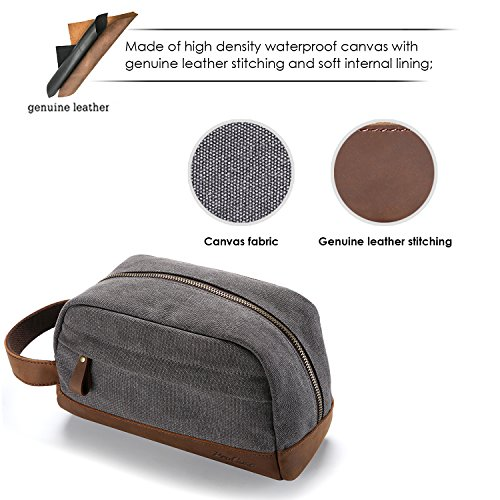 7a1094554a1a ProCase Travel Toiletry Bag, Canvas Genuine Leather Cosmetic Organizer  Makeup Bag Shaving Dopp Kit -Grey