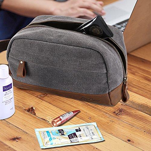e1e2f40c2c2c ProCase Travel Toiletry Bag, Canvas Genuine Leather Cosmetic Organizer  Makeup Bag Shaving Dopp Kit -Grey
