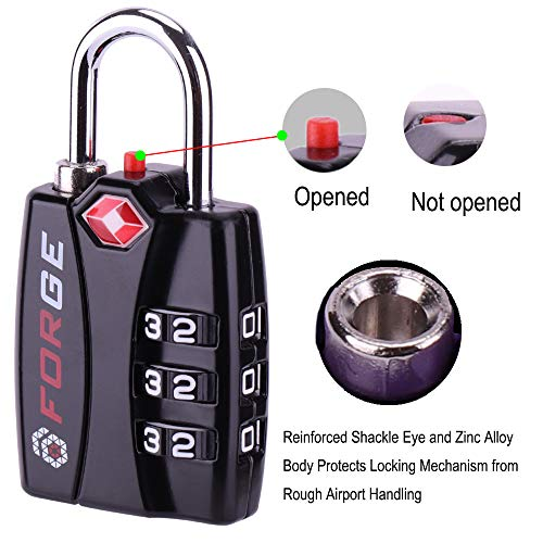 TSA Approved Luggage Locks, Zinc Alloy Body, Open Alert Red Indicator, 1,  2, 4 & 6 Pack, BLACK, BLUE, GREEN, SILVER