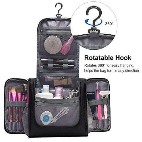 d2e2073956cb TaiBid Hanging Toiletry Bag - Large Flat Travel Kit Makeup Cosmetics  Organizer for Men and Women