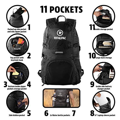 39de43210a34 Totalpac Backpacks - Small Travel Backpack for Women & Hiking Gear Daypack  Bags for Men - Carry on Packable Traveling Accessories Bag - Mens Womens ...