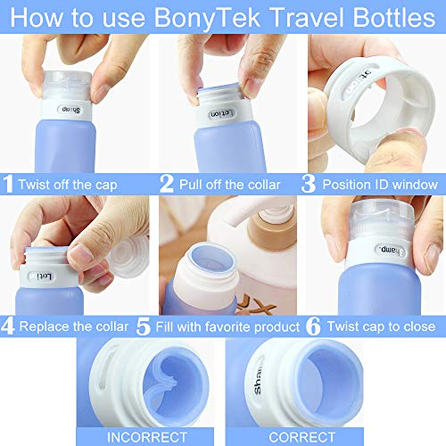 d25e37957c22 Travel Bottles Set, SELEMAK Leakproof Silicone Travel Containers with 5Pcs  TSA Approved Squeezable 3/1.25oz Travel Bottles & Accessories for Cosmetic  ...