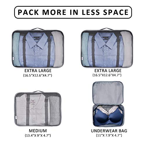 147ed7daf726 VAGREEZ Packing Cubes 4 Pcs Travel Luggage Packing Organizers Set
