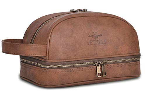 with free Travel Bottles Dopp Kit The perfect gift and travel accessory. Vetelli Leather Toiletry Bag For Men
