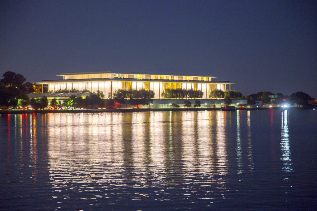 View of the Kennedy Center at night courtesy of Washington.org
