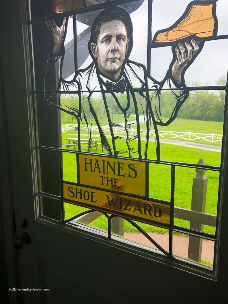 Stained glass window of Mahlon Haines at the Haines Shoe House