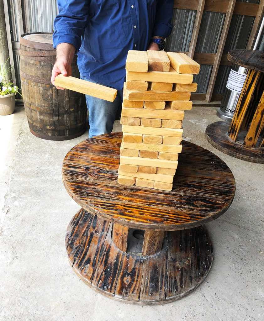 Large Wooden Jenga in the Beer Garden at R&R Brewing in Mt. Olive, NC PullOverAndletmeOut.com