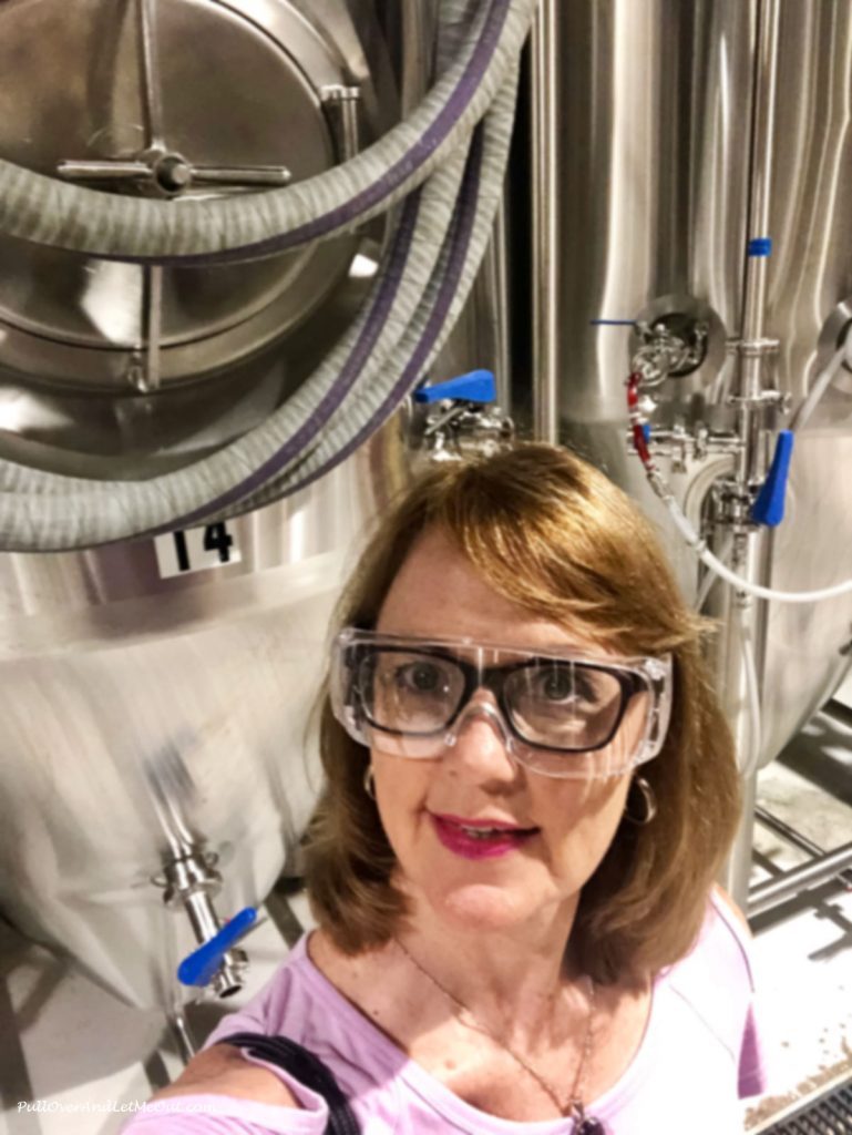 AM in safety goggles at Ponysaurus Brewing in Durham, NC PullOverAndLetMeOut