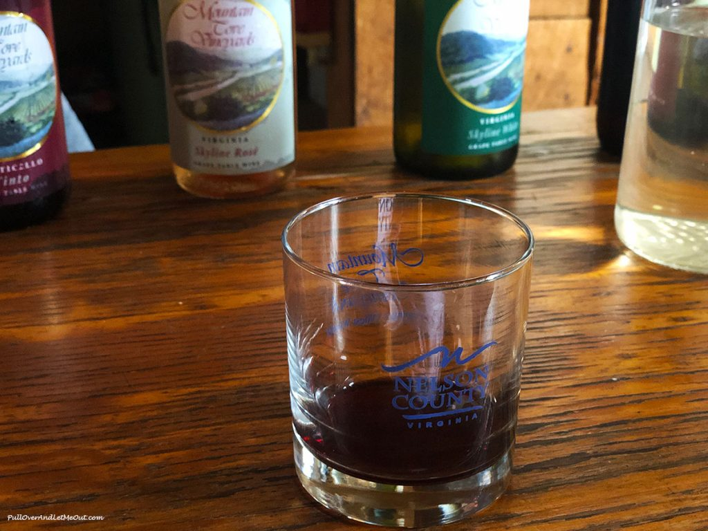 Tasting glass of Mountain Cove Vineyards Tinto in a Nelson County glass. PullOverAndLetMeOut.com