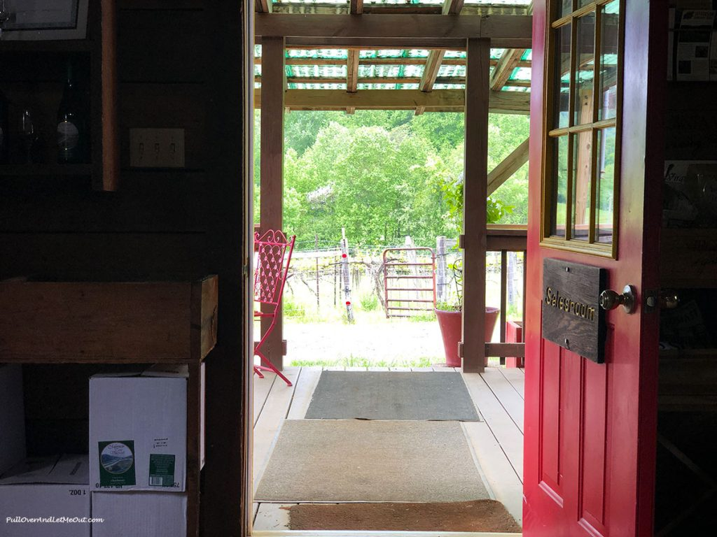 Open door to the Mountain Cove Vineyards tasting room in Nelson County, Virginia. PullOverAndLetMeOut.com