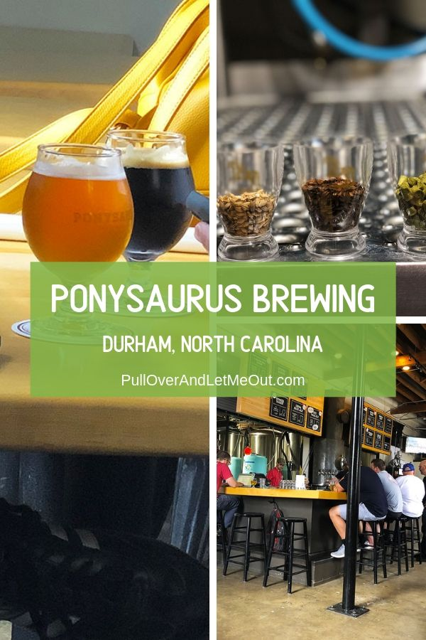 A collage of pictures of Ponysaurus Brewing Co. in Durham, NC PullOverAndLetMeOut.com