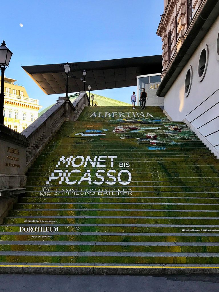Steps up to the Albertina