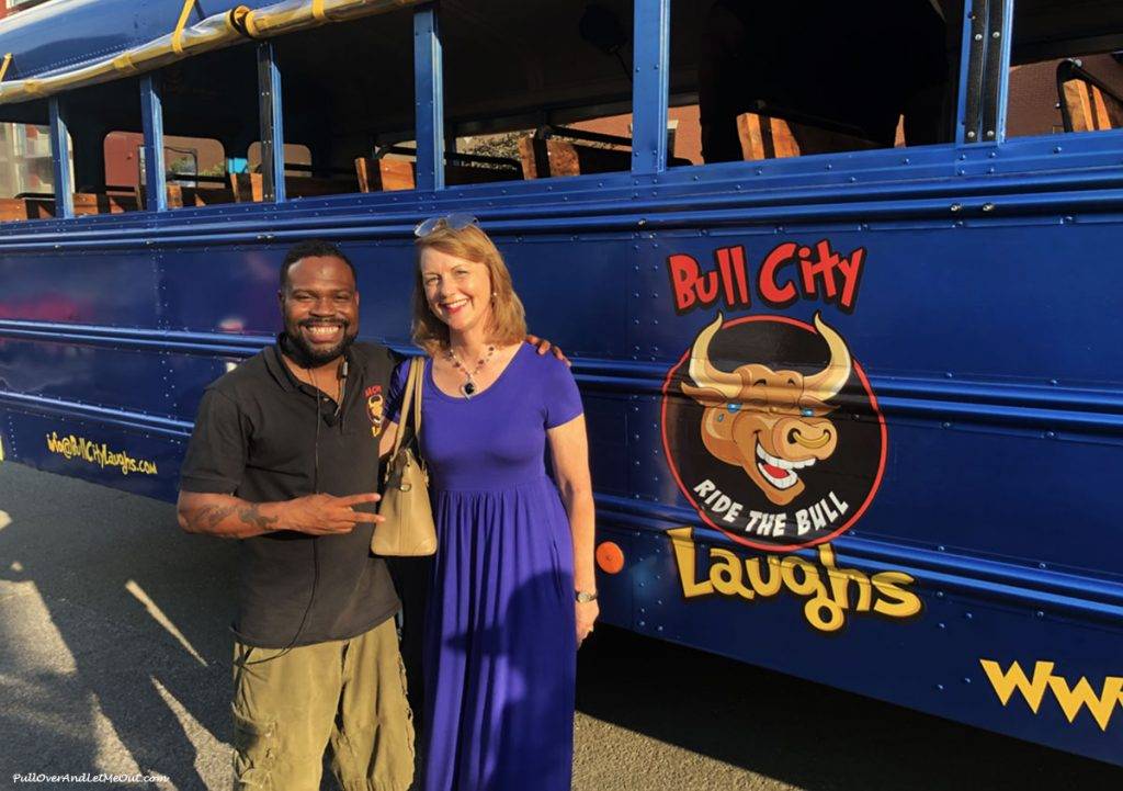 Me and Brandon the tour guide for Bull City Laughs in Durham, NC PullOverAndLetMeOut.com