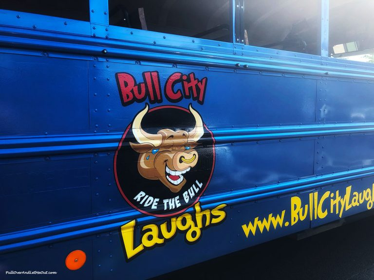 The Bull City Laughs logo on the side of the tour bus. PullOverAndLetMeOut.com