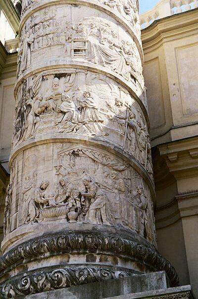 Sculpture at Karlskirche in Vienna, Austria. PullOverAndLetMeOut.com