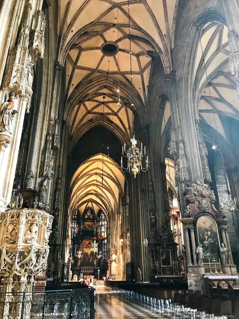 Inside St. Stephen's Cathedral in Vienna, Austria. PullOverAndLetMeOut.com