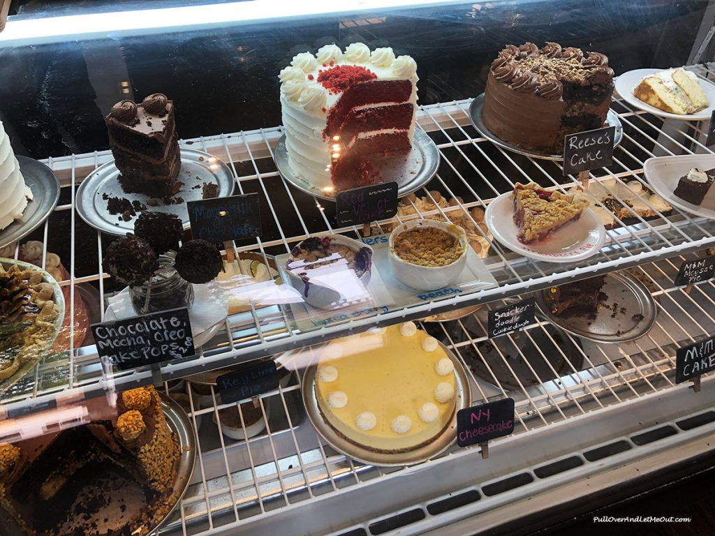 A display case filled with desserts at Kaminsky's in Columbia, SC. PullOverAndLetMeOut.com