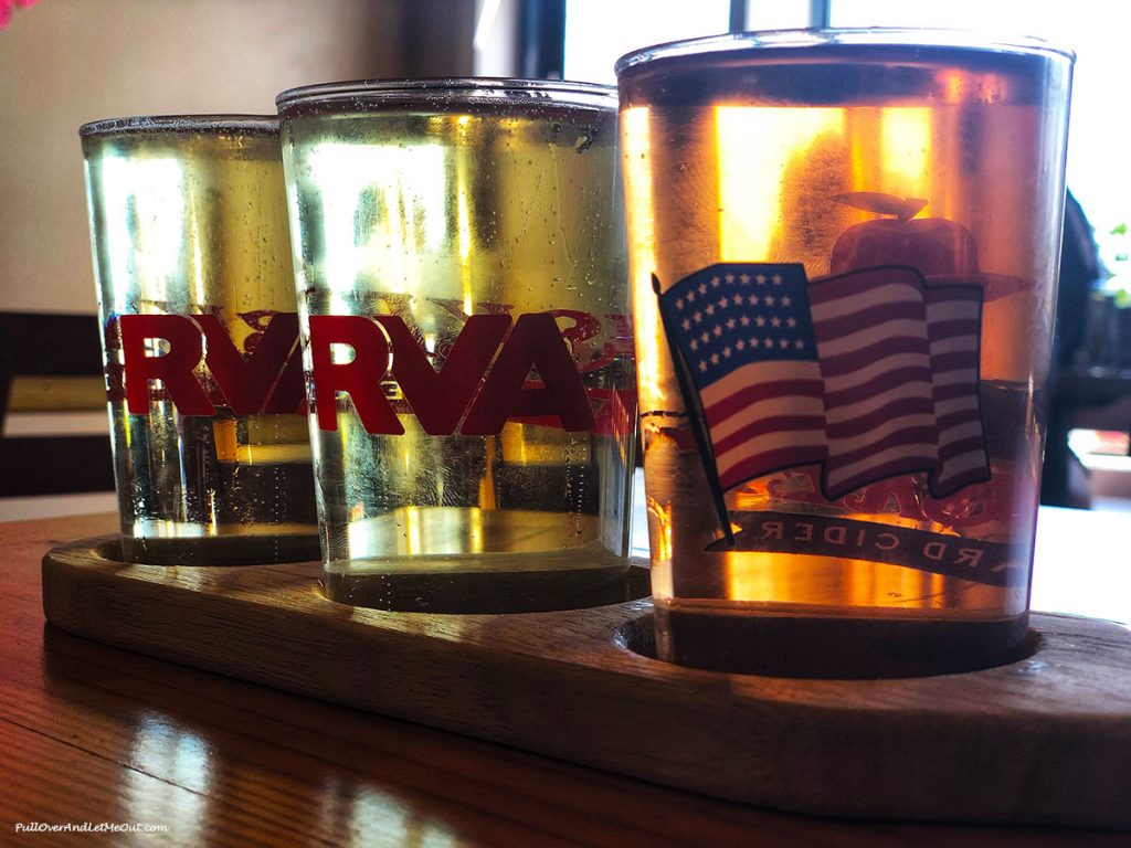 Three samples of cider at Busky Cider by the Bay