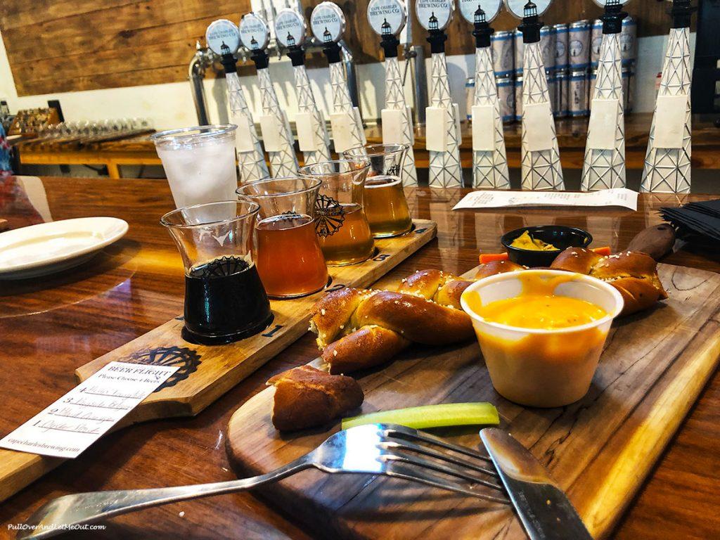 Beer flight and large soft pretzel.