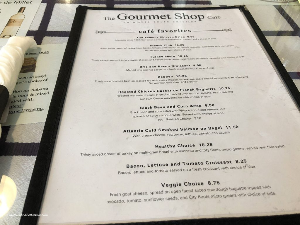 Menu at The Gourmet Shop in Columbia, SC