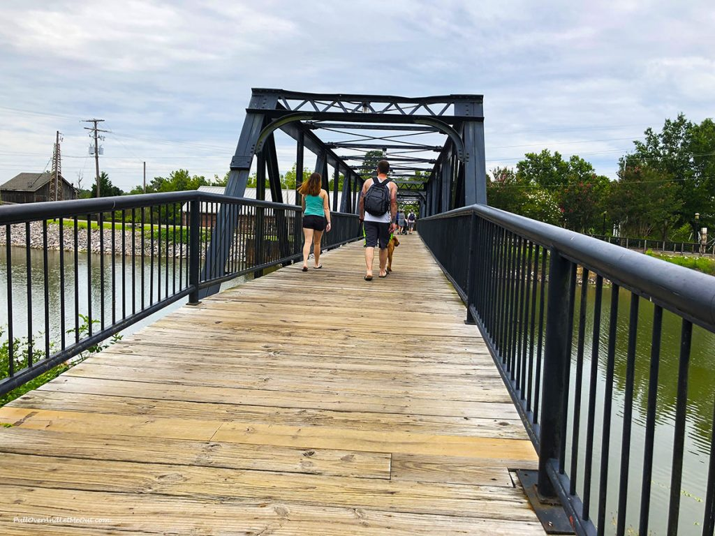 Foot bridge over the Congaree at Riverfront Park and Columbia Canal.