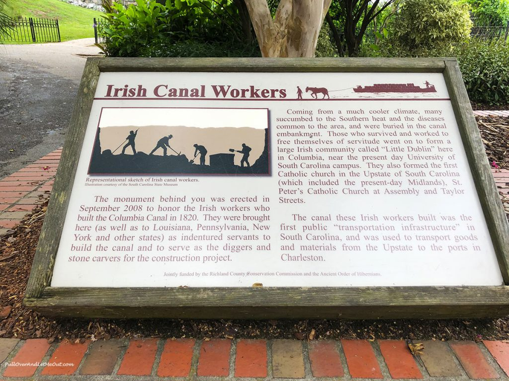 Informational sign about the canal workers Riverfront Park Columbia, SC