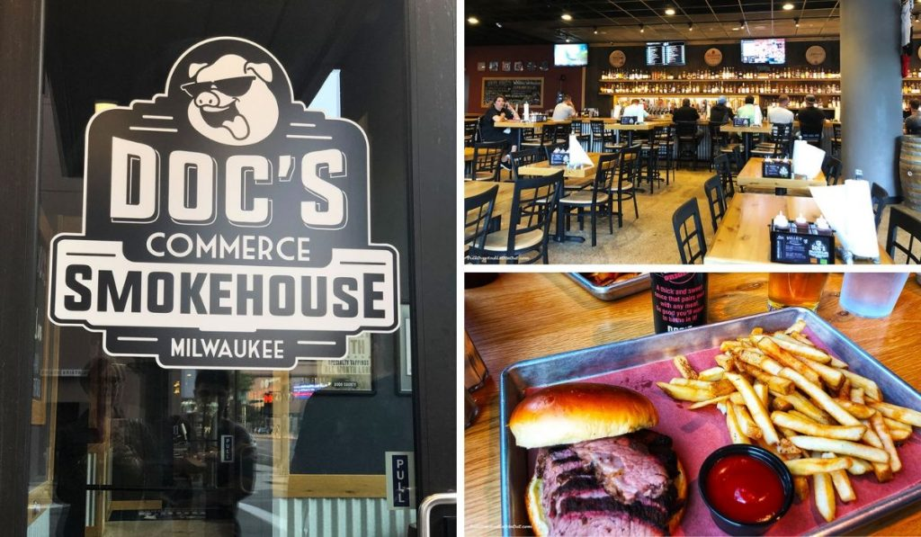 A collage of pics from Doc's Commerce Smokehouse in Milwaukee PullOverAndLetMeOut
