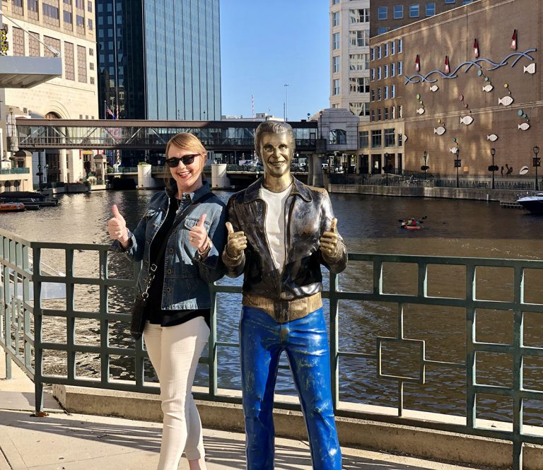 Bronze Fonz statue on the Milwaukee RiverWalk. PullOverAndLetMeOut
