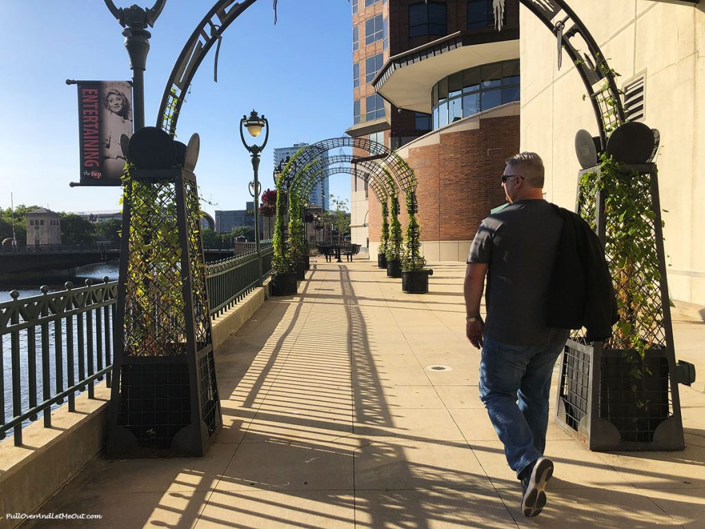 Man on the RiverWalk in Milwaukee. PullOverAndLetMeOut