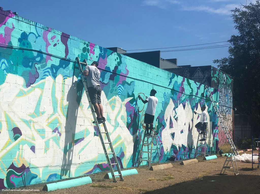 Street artists working in RiNo neighborhood. PullOverAndLetMeOut