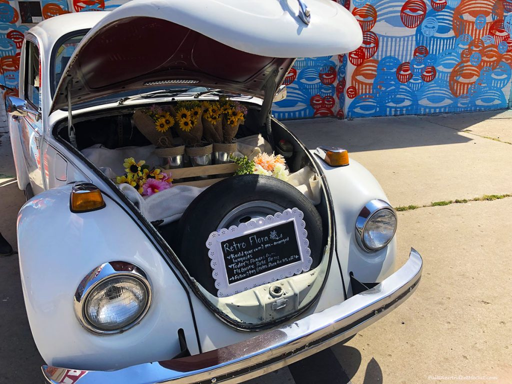 Flowers in a Volkswagon. PullOverAndLetMeOut