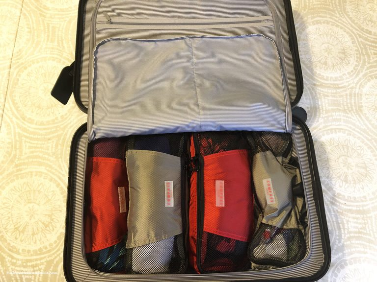 packing cubes in a carryon suitcase