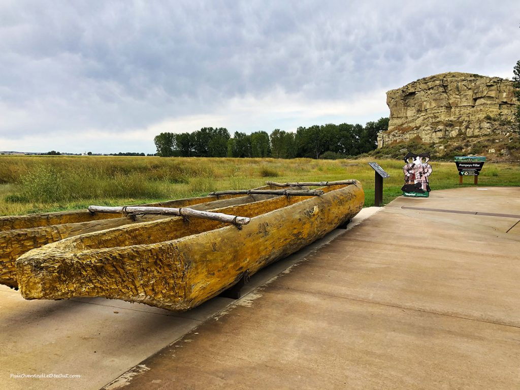 A canoe carved from a log at Pompeys Pillar National Monument